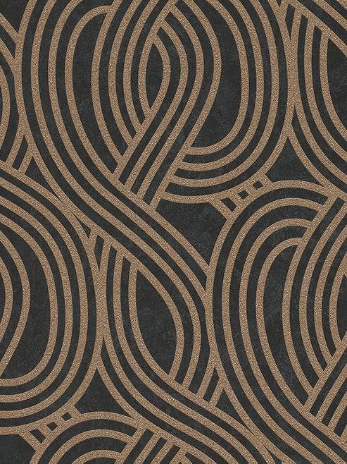 Buy Carat Geometric Glitter Wallpaper Black And Gold