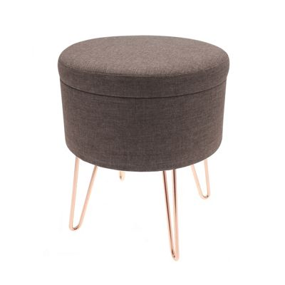 Country Club Malmo Storage Stool with Copper Legs, Brown