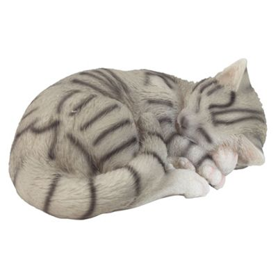 Realistic Sleeping Grey Tabby Cat Kitten Garden Ornament