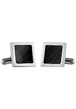 Urban Male Square Stainless Steel and Black Carbon Fibre Men's Cufflinks