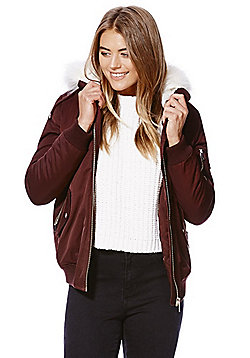 F&F Faux Fur Trim Padded Hooded Bomber Jacket - Burgundy