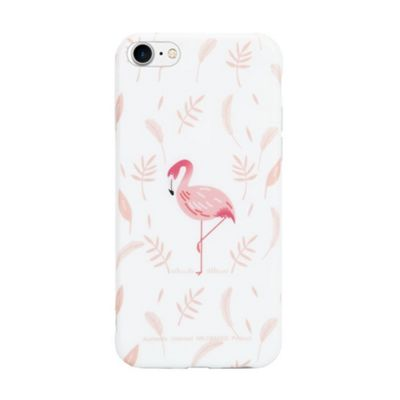 iPhone 8 Flamingo With Pink Leaf Background Protective Phone Case - Pink