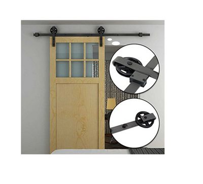 Homcom Modern Sliding Barn Door Closet Hardware Track Kit for Single Wooden Door 6FT /1830mm