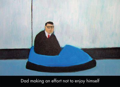 Holy Mackerel Dad Making An Effort Not To Enjoy Himself Greetings Card