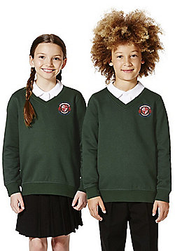 Unisex Embroidered Cotton Blend School V-Neck Sweatshirt with As New Technology - Bottle green