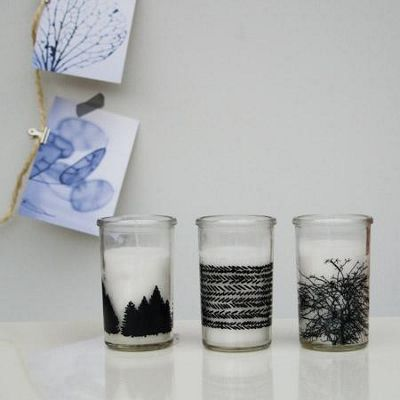 Set of 3 glass candle jars