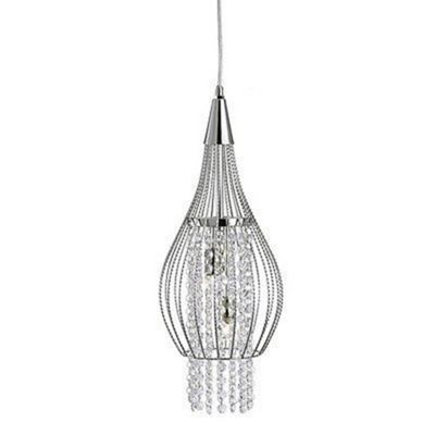 ROCKET - 2 LIGHT CAGE FRAME PENDANT CHROME WITH CLEAR CRYSTAL BUTTONS DROPS DECO