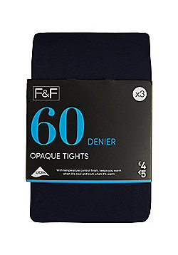 F&F 3 Pack of Opaque 60 Denier Tights - Navy
