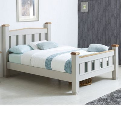 Happy Beds Woodstock Wood High Foot End Bed with Pocket Spring Mattress - Grey - 4ft6 Double