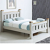 Happy Beds Woodstock Wooden High Foot End Bed with Pocket Sprung Mattress - Grey