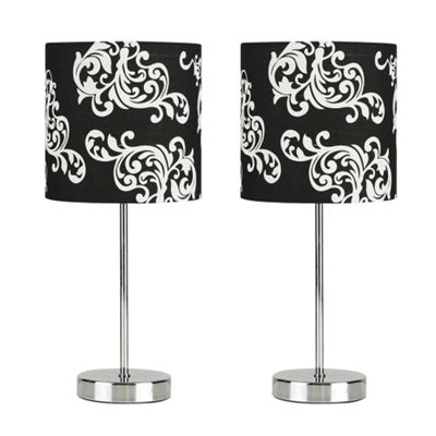 Pair of Modern Touch Table Lamps, Chrome & Black & White Damask Shade