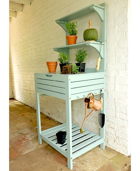 Potting bench with storage - eau de nil