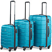VonHaus ABS Hard Shell Luggage 4 Wheel Spinner Set of 3 Piece - Teal