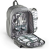 VonShef 2 Person Picnic Backpack Bag Set - Grey