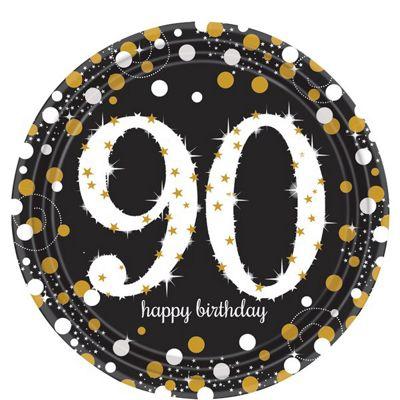 Sparkling Celebration Age 90 Plates - 23cm Paper Party Plates