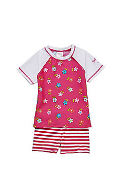Babeskin Striped Daisy Print UPF50+ Rash Top and Shorts Set - Pink