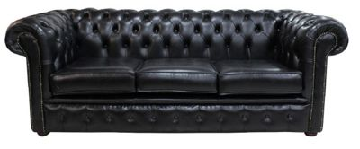 Chesterfield 3 Seater Settee Old English Black Leather Sofa