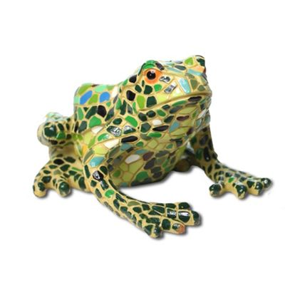 Large Green Mosaic Resin Frog Garden Ornament