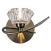 Modern Switched Wall Light in Antique Brass with Moulded Transparent Glass Shade