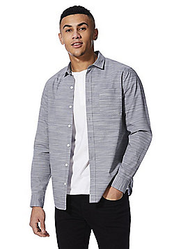 F&F Henley T-Shirt and Striped Shirt Set - Blue & White