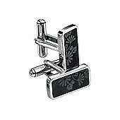 Fred Bennett Black PVD Floral Stainless Steel Cufflinks