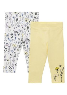 F&F 2 Pack of Buttercup Print Leggings Multi 9-12 months