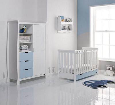Obaby Stamford Mini Cot Bed/Wardrobe 2 Piece Nursery Room Set - White with Bonbon Blue