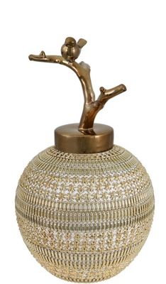Ceramic Jar Gold Beaded Detail Bird On Branch Lid Gold (49cm)