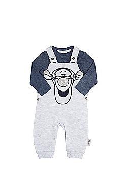 Disney Tigger Jersey Dungarees and Bodysuit Set - Grey