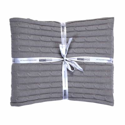 Homescapes Cotton Cable Knit Throw Grey, 130 x 170 cm