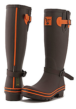 Evercreatures Ladies Wellies Brown With Terracotta Edging 8