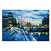 Winter Bridge Scene Christmas Canvas 60x40cm