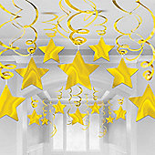 Gold Star Hanging Swirl Decorations - 60cm