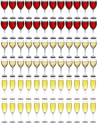 Red, White & Champagne Glasses - 72 Piece Party Pack Set - 340ml, 245ml, 220ml