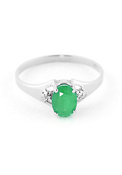 QP Jewellers Diamond & Emerald Oval Desire Ring in 14K White Gold