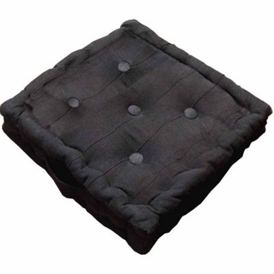 Homescapes Rajput Ribbed Cotton Floor Cushion Black