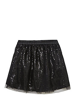 F&F Sequinned Tulle Mesh Tutu Skirt - Black