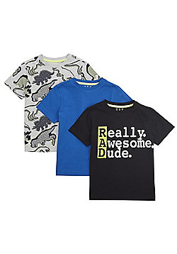F&F 3 Pack of Slogan and Dino Print Short Sleeve T-Shirts - Multi