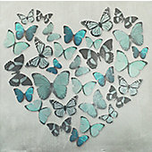 Butterfly Love Teal Printed Canvas 57cm x 57cm