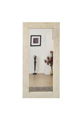 Large Natural White Solid Wood Wall Dressing Mirror 6Ft X 3Ft (183Cm X 91Cm)