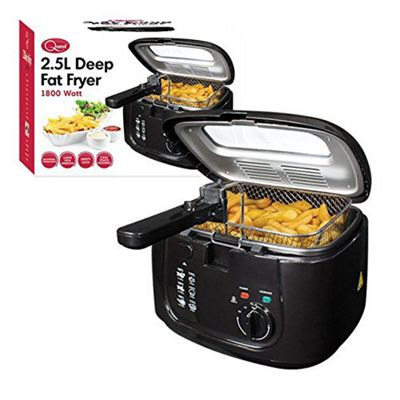 Quest 2.5L 1800W Deep Fat Fryer with Removable Window Lid in Black