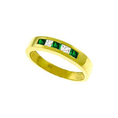 QP Jewellers White Topaz & Emerald Princess Prestige Ring in 14K Gold - Size U