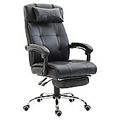 Homcom Executive PU Leather High Back Reclining Swivel Office Chair with Footrest (Black)