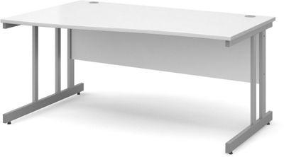 DSK Momento 1600mm Left Hand Wave Desk - White
