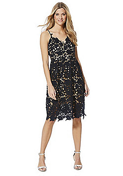 Vero Moda Floral Lace Prom Dress - Navy