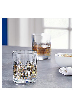 Fox & Ivy Gold & Platinum pack of 4 Diamond Whisky Glasses