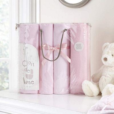 Clair de Lune 4pc Cot Bedding Bale Gift Set (Pink)