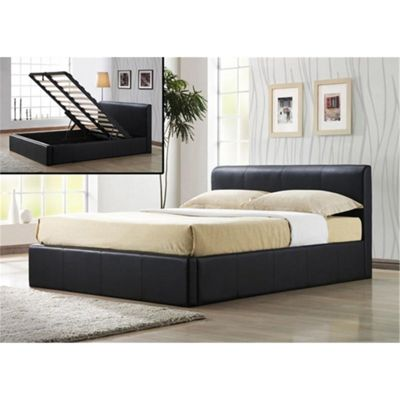 Brown Ottoman Storage Faux Leather Bed Frame - King Size 5ft