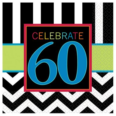 60th Birthday Beverage Napkins - 2ply Paper - 16  Pack