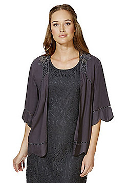 Vila Lace Insert and Ladder Trim Open Front Cardigan - Blue